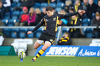 Tommy Bell takes a penalty kick during the LV= Cup second round match between London Wasps and Worcester Warriors at Adams Park on Sunday 18th November 2012 (Photo by Rob Munro)