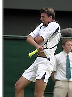 WIMBLEDON CHAMPIONSHIPS 2001 04/07/01 GORAN IVANISEVIC (CROATIA) CELEBRATES AS HE BEATS MARAT SAFIN (RUSSIA) PHOTO ROGER PARKER