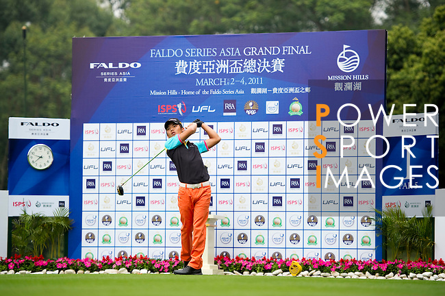 Nattavat Teepakornsuka of Thailand tees off on the 1st hole during the Round 1 of the Faldo Series Asia Grand Final at Mission Hills on March 2, 2011 in Shenzhen, China. Photo by Raf Sanchez / Faldo Series
