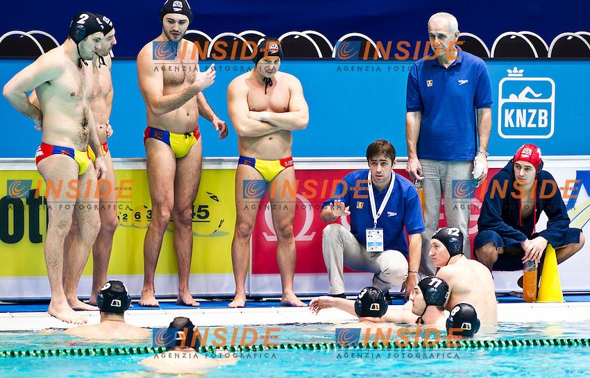Eindhoven , Netherlands (Nederland ) 16 - 29 January 2012.LEN European  Water Polo Championships 2012.Day 06 - Men.Serbia  (White) - Romania (Blue)..Serbia .1 SORO Slobodan.2 SAPONJIC Aleksa.3 GOCIC Zivko.4 UDOVICIC Vanja.5 CUK Milos.6 PIJETLOVIC Dusko.7 NIKIC Slobodan.8 ALEKSIC Milan.9 RADJEN Nikola.10 FILIPOVIC Filip.11 PRLAINOVIC Andrija.12 MITROVIC Stefan.13.MITROVIC Branislav..Romania.1 STOENESCU Dragos.2 RADU Cosmin.3 NEGreece AN Tiberiu.4 DIACONU Nicolae.5 IOSEP Andrei.6 BUSILA Andrei.7 MATEI GUIMAN Alexandru.8 CHIOVEANU Mihnea.9 GOANTA Dimitri.10 GEORGESCU Ramiro.11 GHIBAN Alexandru.12 KADAR Kalman.13 DRAGUSIN Mihai..Photo Insidefoto / Giorgio Scala / Deepbluemedia.eu