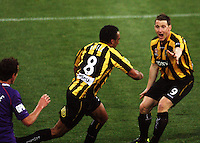 Phoenix striker Chris Greenacre (right) congratulates Paul Ifill on his goal during the A-League football match between Wellington Phoenix and Perth Glory at Westpac Stadium, Wellington, New Zealand on Sunday, 16 August 2009. Photo: Dave Lintott / lintottphoto.co.nz