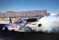 Sep 29, 2013; Madison, IL, USA; NHRA funny car driver Robert Hight during the Midwest Nationals at Gateway Motorsports Park. Mandatory Credit: Mark J. Rebilas-