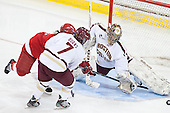 Emily Fulton (Cornell - 17), Dru Burns (BC - 7), Corinne Boyles (BC - 29) - The Boston College Eagles defeated the visiting Cornell University Big Red 4-3 (OT) on Sunday, January 11, 2012, at Kelley Rink in Conte Forum in Chestnut Hill, Massachusetts.