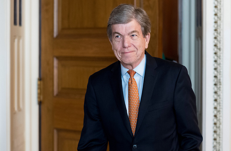 UNITED STATES - JUNE 6: Sen. Roy Blunt, R-Mo., leaves the Senate Republicans' policy lunch in the U.S. Capitol on Tuesday, June 6, 2017. (Photo By Bill Clark/CQ Roll Call)