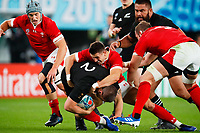 1st November 2019, Tokyo, Japan;  (L to R) Dane Coles (NZL) is brought down by Owen Watkin (WAL);  2019 Rugby World Cup 3rd place match between New Zealand 40-17 Wales at Tokyo Stadium in Tokyo, Japan.  - Editorial Use