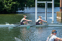 "Henley on Thames, United Kingdom, 22nd June 2018, Friday,   ""Henley Women's Regatta"",  General view, Championships, Women's Double Scull, Cambridge Universities, moving away from the start,   Competitors, Rowing-Sculling, Training, Henley Reach, Thames Valley,  River Thames, England, © Peter SPURRIER"