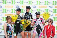INLINE-SKATEN: STEENWIJK: Gagelsweg (start/finish), Schansweg, Meppelerweg, KPN Inline Cup, Klim van Steenwijk, 02-05-2012, Eindpodium Dames, Elisa Knol (Miss Musculus), Manon Kamminga (#88), Sabine Berg (#118), Lisanne Buurman (#267), ©foto Martin de Jong