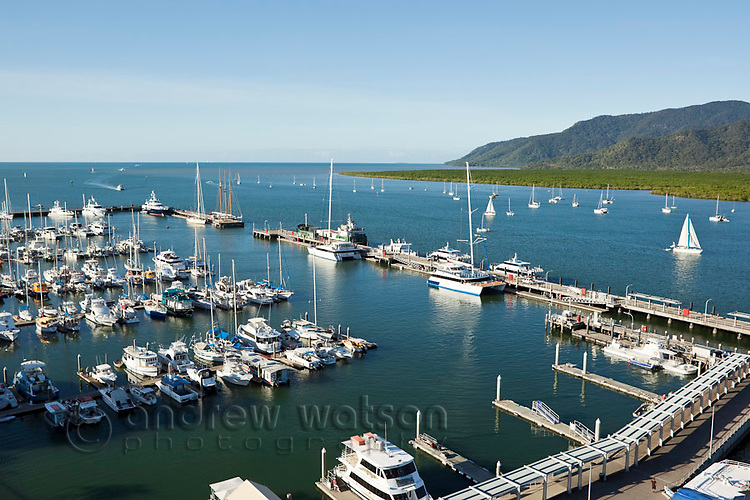 View of the Marlin Marina and Trinity Inlet.  Cairns, Queensland, Australia