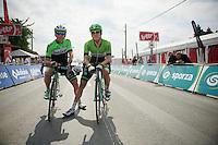 Greame Brown (AUS/Belkin) &amp; Theo Bos (NLD/Belkin) waiting to start<br /> <br /> 2014 Belgium Tour<br /> (final) stage 5: Oreye - Oreye (179km)