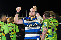 Matt Garvey of Bath Rugby celebrates the win after the match. Aviva Premiership match, between Bath Rugby and Northampton Saints on February 9, 2018 at the Recreation Ground in Bath, England. Photo by: Patrick Khachfe / Onside Images