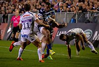 Bath Rugby's Joe Cokanasiga in action during todays match<br /> <br /> Photographer Bob Bradford/CameraSport<br /> <br /> Gallagher Premiership - Bath Rugby v Exeter Chiefs - Friday 5th October 2018 - The Recreation Ground - Bath<br /> <br /> World Copyright &copy; 2018 CameraSport. All rights reserved. 43 Linden Ave. Countesthorpe. Leicester. England. LE8 5PG - Tel: +44 (0) 116 277 4147 - admin@camerasport.com - www.camerasport.com