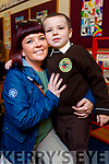 Jess Walsh pictured with her son Nathan Walsh, Tralee, enjoying his first day at Gaelscoil Mhic Easmainn, Tralee, on Wednesday morning last.