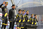 Direct Energie team on stage at sign on before the 2019 Gent-Wevelgem in Flanders Fields running 252km from Deinze to Wevelgem, Belgium. 31st March 2019.<br /> Picture: Eoin Clarke | Cyclefile<br /> <br /> All photos usage must carry mandatory copyright credit (© Cyclefile | Eoin Clarke)