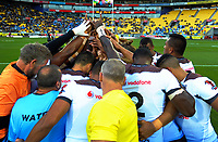 The Fiji team huddles before the 2017 Rugby League World Cup quarterfinal match between New Zealand Kiwis and Fiji at Wellington Regional Stadium in Wellington, New Zealand on Saturday, 18 November 2017. Photo: Dave Lintott / lintottphoto.co.nz
