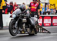 Mar 16, 2019; Gainesville, FL, USA; NHRA pro stock motorcycle rider Eddie Krawiec during the Gatornationals at Gainesville Raceway. Mandatory Credit: Mark J. Rebilas-USA TODAY Sports