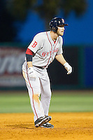 Stephen Drew (7) of the Greenville Drive takes his lead off of second base against the Charleston RiverDogs at Joseph P. Riley, Jr. Park on May 26, 2014 in Charleston, South Carolina.  The Drive defeated the RiverDogs 11-3.  (Brian Westerholt/Four Seam Images)