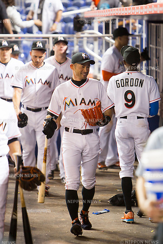 Ichiro Suzuki (Marlins),<br /> JUNE 16, 2015 - MLB :<br /> Ichiro Suzuki of the Miami Marlins smiles in the dugout during the Major League Baseball game against the New York Yankees at Marlins Park in Miami, Florida, United States. (Photo by Thomas Anderson/AFLO) (JAPANESE NEWSPAPER OUT)