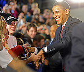 Elkhart, IN - February 9, 2009 -- United States President Barack Obama smiles as he greets supporters upon his arrival at a town hall meeting in Elkhart, Indiana, USA 09 February 2009. Obama is seeking public support for his economic stimulus plan by taking to the road to visit hard hit areas of the country. The unemployment rate in Elkhart is over 15%, triple the rate of December 2008.Credit: Tannen Maury - Pool via CNP.