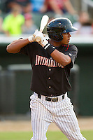 Cleuluis Rondon (13) of the Kannapolis Intimidators at bat against the Lakewood BlueClaws at CMC-Northeast Stadium on August 14, 2013 in Kannapolis, North Carolina.  The Intimidators defeated the BlueClaws 10-2.  (Brian Westerholt/Four Seam Images)