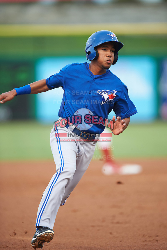 GCL Blue Jays shortstop Jesus Navarro (82) running the bases during a game against the GCL Phillies on August 16, 2016 at Bright House Field in Clearwater, Florida.  GCL Blue Jays defeated GCL Phillies 2-1.  (Mike Janes/Four Seam Images)