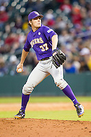 LSU Tigers pitcher Jesse Stallings (37) delivers a pitch to the plate during the NCAA baseball game against the Baylor Bears on March 7, 2015 in the Houston College Classic at Minute Maid Park in Houston, Texas. LSU defeated Baylor 2-0. (Andrew Woolley/Four Seam Images)