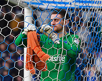 Portsmouth keeper Luke McGee hangs his towel on the goal net during Portsmouth vs Gillingham, Sky Bet EFL League 1 Football at Fratton Park on 10th March 2018
