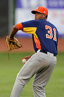 Starting pitcher Joshua James (31) of the Greeneville Astros warms up before a game against the Bristol Pirates on Saturday, July 26, 2014, at DeVault Memorial Stadium in Bristol, Virginia. Greeneville won, 4-0 in Game 2 of a doubleheader. (Tom Priddy/Four Seam Images)