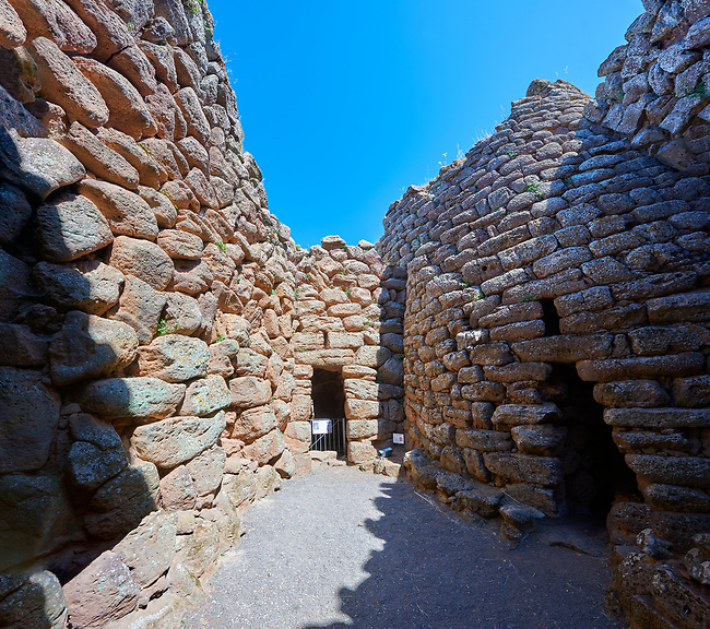 Picture and image of the interior courtyard of the prehistoric magalith ruins of Nuraghe Arrubiu ( Red Nuraghe), archaeological site, Bronze age (14 -9 th century BC). The Nuraghe Arrubiu is one of the ;argest Nuraghe on Sardinia with a central fortification which had 5 towers reacing 35 -30 mteres high. Orroli, Southern Sardinia.