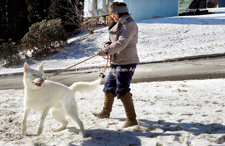 WATERBURY CT. 07 December 2014-010714SV08-Valerie Carignan of Waterbury walks her dog, Sergeant, in some light snow that fell over night in Waterbury Tuesday. Carignan was braving single digit temperatures to get a quick walk with Sergeant.<br /> Steven Valenti Republican-American