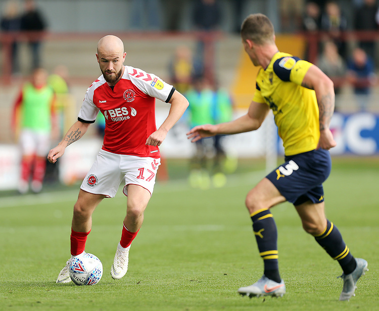 Fleetwood Town's Paddy Madden under pressure from Oxford United's Cameron Brannagan<br /> <br /> Photographer Rich Linley/CameraSport<br /> <br /> The EFL Sky Bet League One - Fleetwood Town v Oxford United - Saturday 7th September 2019 - Highbury Stadium - Fleetwood<br /> <br /> World Copyright © 2019 CameraSport. All rights reserved. 43 Linden Ave. Countesthorpe. Leicester. England. LE8 5PG - Tel: +44 (0) 116 277 4147 - admin@camerasport.com - www.camerasport.com