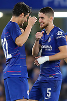 Jorginho (No 5) of Chelsea celebrates scoring his penalty in the shoot out with Lucas Piazon during Chelsea vs Lyon, International Champions Cup Football at Stamford Bridge on 7th August 2018