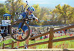 October 17, 2015 - Boulder, Colorado, U.S. - Elite cyclist, Georgia Gould, reaches the top of a difficult run-up during the U.S. Open of Cyclocross, Valmont Bike Park, Boulder, Colorado.