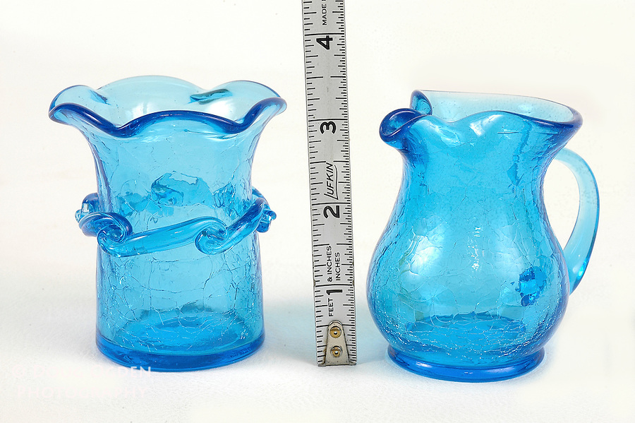 Cracked glass cream and sugar tea set.  Images used in Estate valuation and auction program.