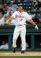 April 24, 2008: Ryan Kalish (2) of the Greenville Drive, Class A affiliate of the Boston Red Sox, in a game against the Asheville Tourists at Fluor Field at the West End in Greenville, S.C. Photo by:  Tom Priddy/Four Seam Images