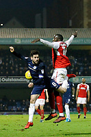 New signing Toumani Diagouraga of Fleetwood Town competes with Michael Timlin of Southend United during the Sky Bet League 1 match between Southend United and Fleetwood Town at Roots Hall, Southend, England on 13 January 2018. Photo by Carlton Myrie.