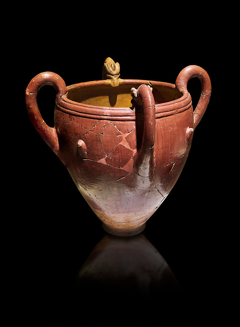 Bronze Age Anatolian four handled terra cotta vase with reliefs - 19th - 17th century BC - Kültepe Kanesh - Museum of Anatolian Civilisations, Ankara, Turkey.  Against a black background.