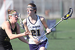 Santa Barbara, CA 02/18/12 - Jessica Dresser (UC Davis #21) and Hayley Bernstein (Colorado State #15) in action during the UC Davis - Colorado State game at the 2012 Santa Barbara Shootout.  Colorado State defeated UC Davis 10-9.