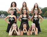 August 28, 2017- Tuscola, IL- The 2017 Tuscola Warriorettes. Back row from left are Carli Stone, Savannah Barnes, and Kori Rich. Middle row from left are Hannah Andreson, Lauren Farley, and Charlize Wilson. Front row from left are Sara Kremitzki, Olivia Chester, and Karen Donnals. [Photo: Douglas Cottle]