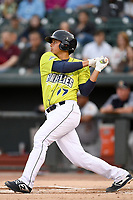 Catcher Juan Uriarte (17) of the Columbia Fireflies bats in a game against the Charleston RiverDogs on Thursday, April 4, 2019, at Segra Park in Columbia, South Carolina. Charleston won, 2-1. (Tom Priddy/Four Seam Images)