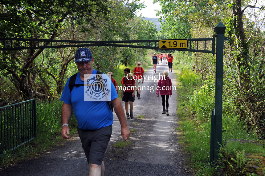 8-7-2017: Some of the participants pictured walking in Castlecove, County Kerry on Saturday in the Kerry Way Walk in aid of Breakthrough Cancer Research. The three day charity walk around South Kerry attracts walkers from all over Ireland and has raised over &euro;670,000 in its 14 year history.<br /> Photo Don MacMonagle<br /> <br /> Repro free photo breakthrough cancer research