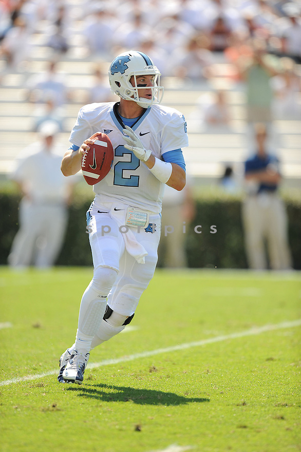 North Carolina Tarheels Bryn Renner (2) in action during a game against Virginia Tech on October 6, 2012 at Kenan Memorial Stadium in Chapel Hill, NC. North Carolina beat Virginia Tech 48-34.