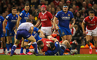 1st February 2020; Millennium Stadium, Cardiff, Glamorgan, Wales; International Rugby, Six Nations Rugby, Wales versus Italy; Josh Adams of Wales scores his third try of the match to make the score 40-0