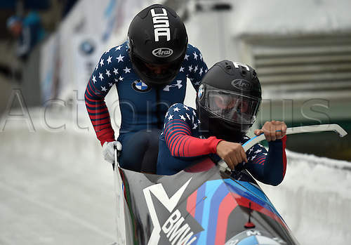 13.01.2017. Winterberg, Germany.  American bobsleighers Elana Meyers Taylor (R) and Kehri Jones in action at the Bobsleighing World Cup in Winterberg, Germany, 13 January 2017.