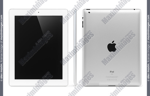 White Apple iPad 2 tablet computer front, side and rear view. Isolated with clipping path on white background.