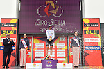 Brandon McNulty (USA) Rally UHC Cycling wins the overall genaral classification and the young riders Maglia Bianca on the podium at the end of Stage 4 of Il Giro di Sicilia 2019 running 119km from Giardini Naxos to Mount Etna (Nicolosi), Italy. 6th April 2019.<br /> Picture: LaPresse/Massimo Paolone | Cyclefile<br /> <br /> All photos usage must carry mandatory copyright credit (&copy; Cyclefile | LaPresse/Massimo Paolone)