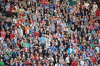 VOETBAL: HEERENVEEN: Abe Lenstra Stadion, 02-08-2012, Europa League, SC Heerenveen - Rapid Boekarest, Eindstand 4-0, Volle tribunes dankzij Amstel actie: Seizoenkaarthouders van sc Heerenveen mochten op vertoon vanhun geldige (opgewaardeerde) seizoenkaart voor het seizoen 2012-2013 naarbinnen, niet-seizoenkaarthouders kregentegen inlevering van 3 Amstel kroonkurken op de wedstrijddag, een gratis kaartje van Amstel Bier voor de wedstrijd (voor fans jonger dan 18 geldt hiervoor het inleveren van 3 frisdrankdoppen), ©foto Martin de Jong