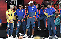 BOGOTA - COLOMBIA, 05-07-2018: Jose PEKERMAN técnico y Radamel FALCAO GARCIA, Yerry MINA y David OSPINA jugadores de la Selección Colombia de fútbol durante el homenaje recibido hoy, 05 de julio de 2018, después de su participación en la Copa Mundial de la FIFA Rusia 2018. El acto tuvo lugar een el estadio Nemesio Camacho El Campín de la ciudad de Bogotá / Jose PEKERMAN coach and Radamel FALCAO GARCIA, Yerry MINA and David OSPINA players of Colombia national soccer team during the tribute received today, July 5, 2018, after their participation in the FIFA World Cup Russia 2018. The event took place at Nemesio Camacho El Campin stadium in Bogota city. Photo: VizzorImage / Gabriel Aponte / Staff