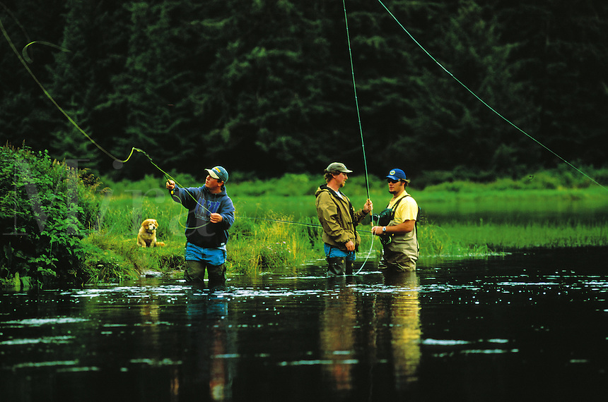 Fishermen gather at a fly fishing spot. Ketchikan, Alaska.