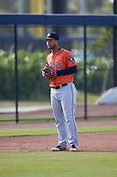 Houston Astros Randy César (27) during practice before a Minor League Spring Training Intrasquad game on March 28, 2018 at FITTEAM Ballpark of the Palm Beaches in West Palm Beach, Florida.  (Mike Janes/Four Seam Images)