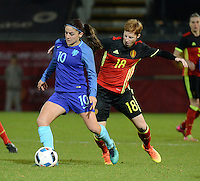 20161124 - LEUVEN ,  BELGIUM : Belgian Lien Mermans (R) and Dutch Danielle Van De Donk (L) pictured during the female soccer game between the Belgian Red Flames and The Netherlands , a friendly game before the European Championship in The Netherlands 2017  , Thursday 24 th November 2016 at Stadion Den Dreef  in Leuven , Belgium. PHOTO SPORTPIX.BE | DIRK VUYLSTEKE